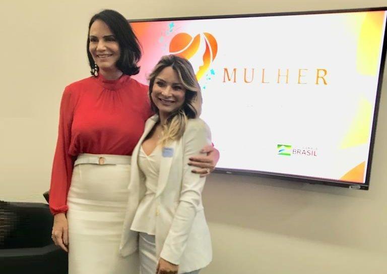 Luíza Brunet e Mônica Aguirre participamdo lançamento do Programa Salve uma Mulher