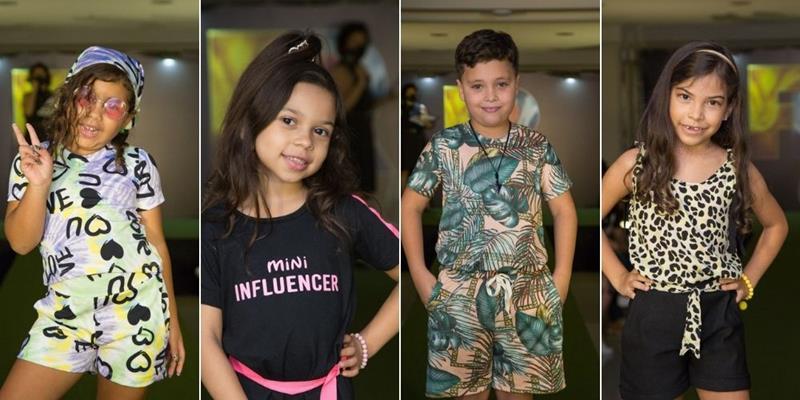 Modelos mirins arrasam na passarela com looks da 'Lollo Kids' em desfile do 'Fashion Runway Club'