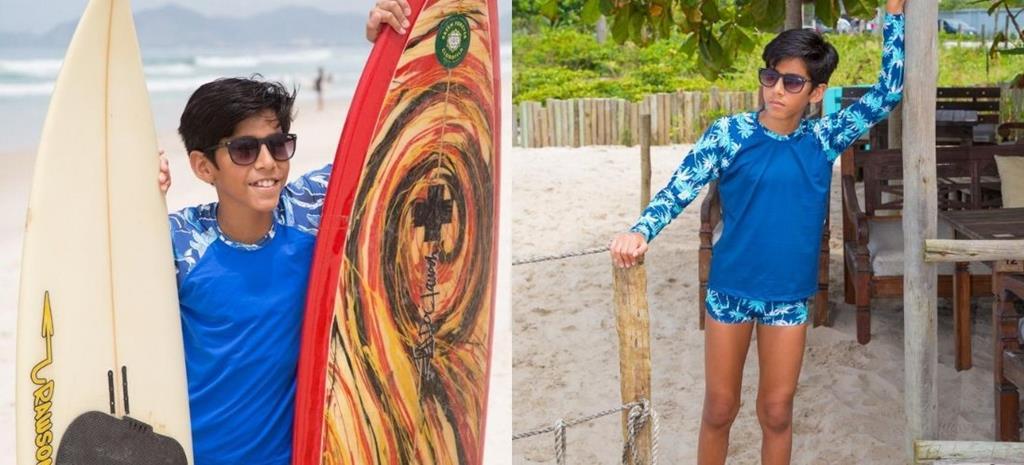 Modelo, Arthur Damasceno, fotografa para a coleção 'Oh My Summer – Ceci Moda Praia'