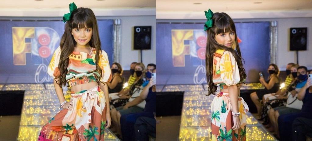 Sophia Braz comemora um ano como embaixadora da 'Melancia Brasil Kids' em desfile promovido pelo 'Fashion Runway Club'