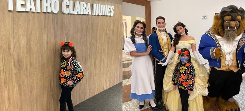 Influencer mirim, Lara Espolador, se diverte com a peça 'Princesas e Heróis no Mundo dos Games'